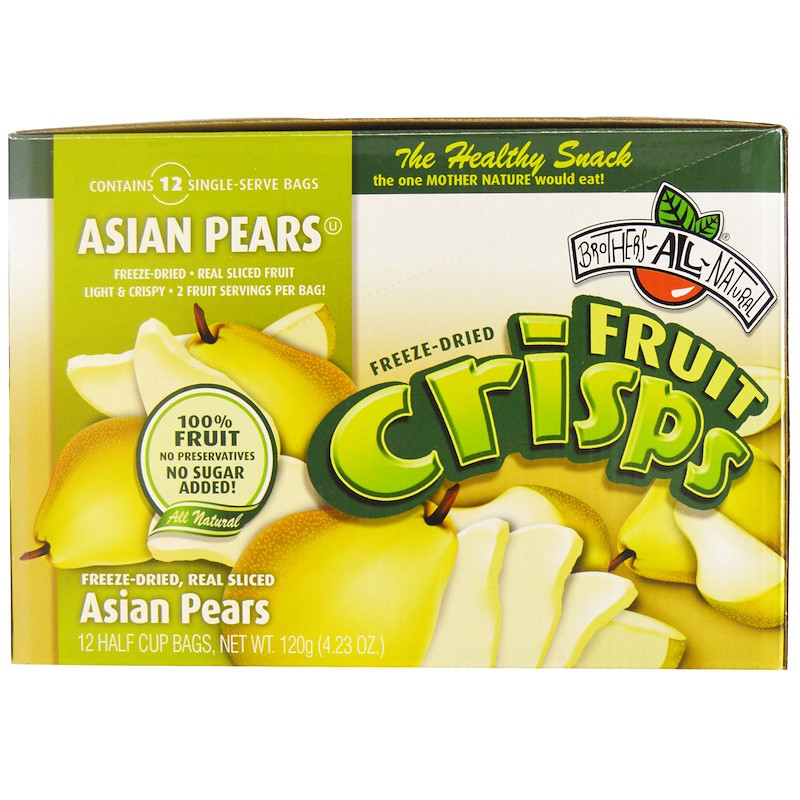 Brothers-All-Natural, Asian Pears Fruit-Crisps, 12 Half Cup Bags , 4.23 oz (120 g)