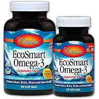 Carlson Labs, Экосмарт Омега-3, натуральный вкус лимона, 90 желатиновых капсул + 30 капсул бесплатно, фото 1