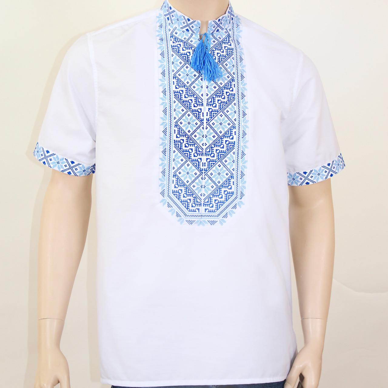 Вышиванка мужская в украинском стиле Николай вышивка сине-голубая