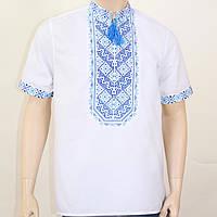 Вышиванка мужская в украинском стиле Николай вышивка сине-голубая, фото 1