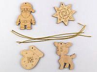 Набор деревянных новогодних игрушек (4 фгурки) 92246