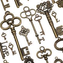 90pcs Antique Винтаж Old Ornate Skeleton Keys Lot Кулон Необычные Сердце Украшения Подарки 1TopShop, фото 3