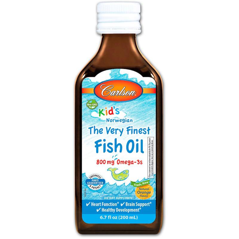 Рыбий жир для детей, апельсиновый вкус, высшего качества Carlson Labs, 200 мл