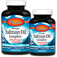 Carlson Labs, Рыбий жир из норвежского лосося Salmon Oil Complete, 120 капсул в мягкой оболочке + 60 капсул бесплатно, фото 1
