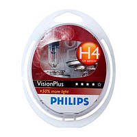 Лампа PHILIPS H4 VISIONPLUS +50% 12V 60/55W P43T-38 (оригинал) (PHILIPS)