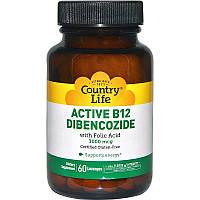 В-12 и фолиевая кислота, Active B12 Dibencozide, Country Life, 3000 мкг, 60 лед.