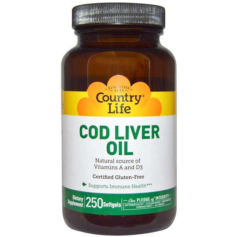 Рыбий жир из печени трески, Cod Liver Oil, Country Life, 250 капсул