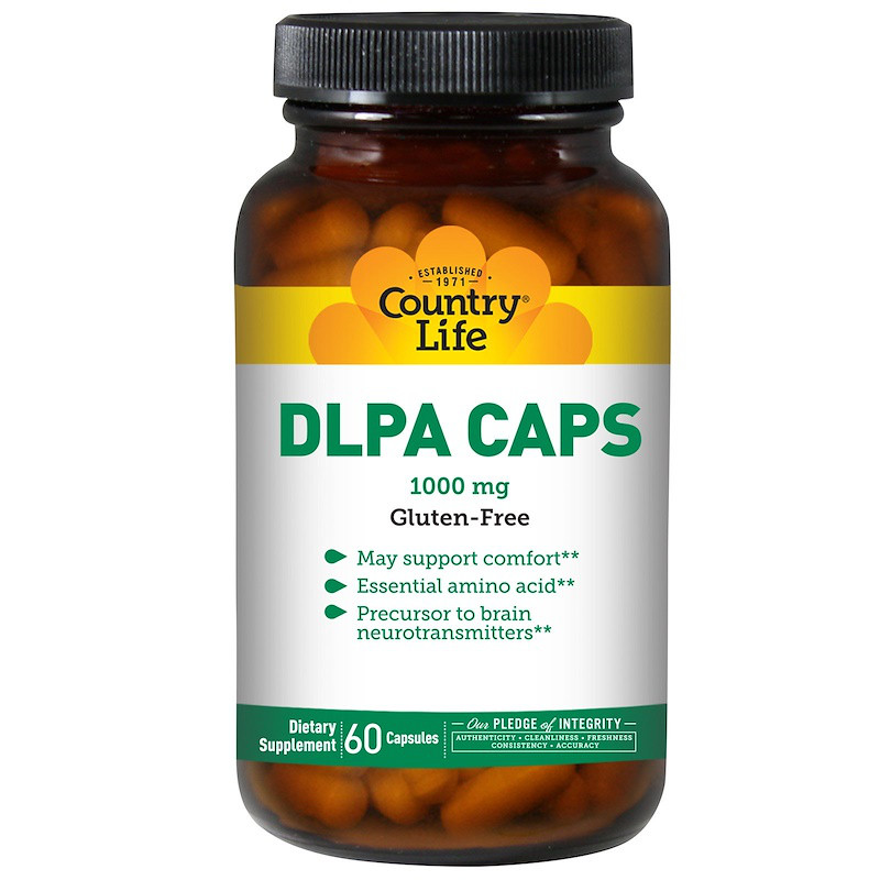 DL-Фенилаланин, Country Life, 1000 мг, 60 капсул.