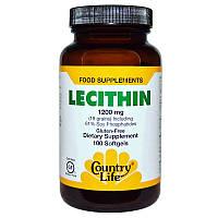 Лецитин, Lecithin, Country Life, 1200 мг, 100 капсул