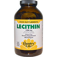 Лецитин, Lecithin, Country Life, 1200 мг, 300 капсул