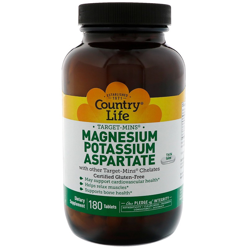 Магний и калий аспарат (аспартат), Magnesium Potassium, Country Life, 180 таблеток
