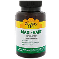 Комплексные витамины для роста волос и укрепления ногтей Country Life, Gluten Free, Maxi-Hair, 90 таблеток, фото 1