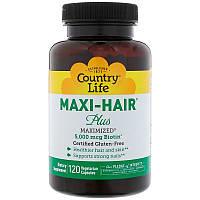 Витамины для волос и ногтей, Country Life, Gluten Free, Maxi Hair Plus, 120 капсул на растительной основе, фото 1