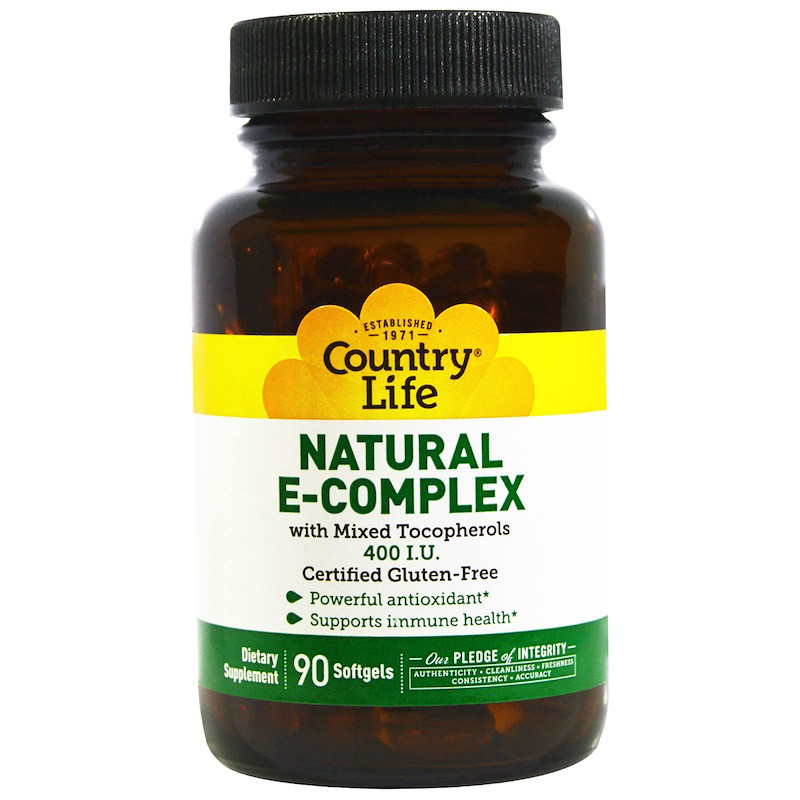 Витамин Е, Natural E-Complex, Country Life, 400 МЕ, 90 капсул