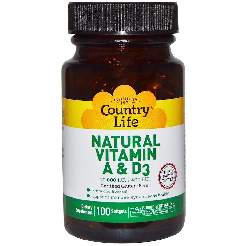 Витамины А и Д, Country Life, 10000 МЕ / 400 МЕ, 100 кап.
