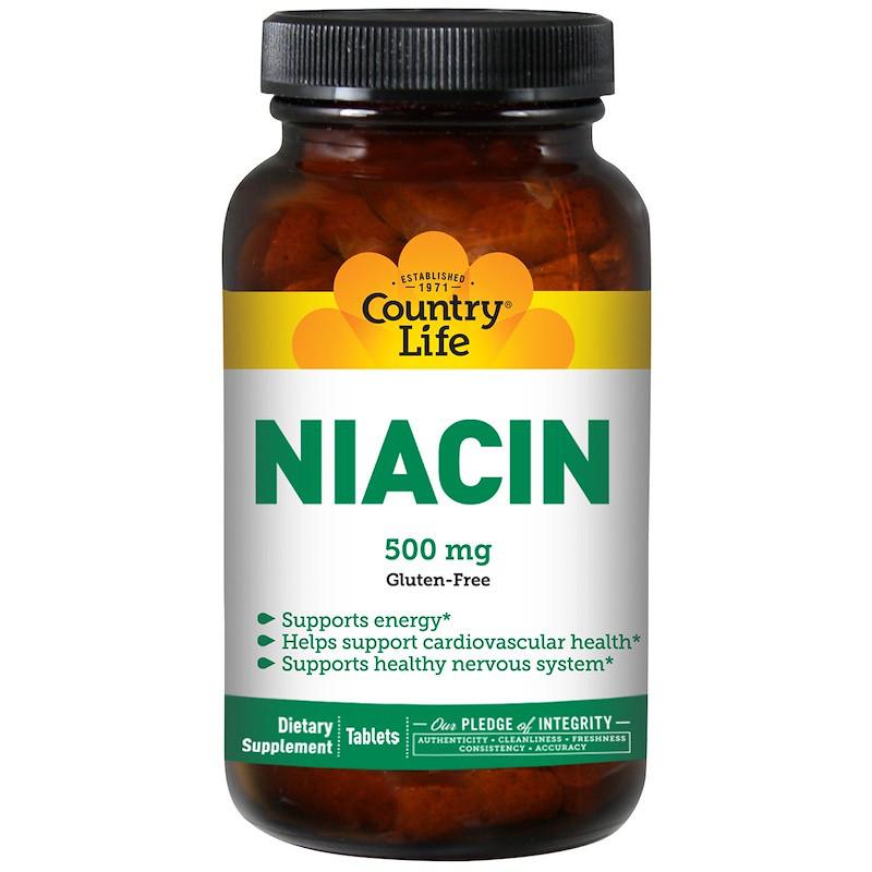 Ниацин, Niacin, Country Life, 500 мг, 90 таб.