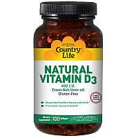 Витамин Д3, Vitamin D3, Country Life, 400 МЕ, 100 кап.