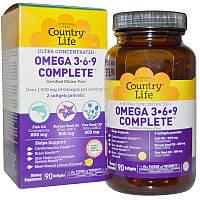 Омега 3 6 9, Omega 3-6-9, Country Life, со вкусом лимона, 90 кап.