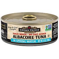 Crown Prince Natural, Длинноперый тунец, Плотное белое мясо - Без добавления соли, В пресной воде, 5 унций (142 г)