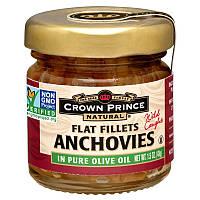 Crown Prince Natural, Анчоусы, плоское филе, в чистом оливковом масле, 1,5 унции (43 г)