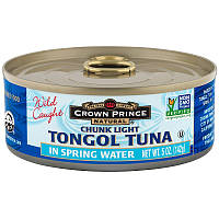 Crown Prince Natural, Кусочки легкого тунца тонгол, в родниковой воде, 5 унций (142 г), фото 1