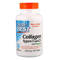 Коллаген 1 и 3 типа для кожи и суставов с витамином С, 1000 мг, 180 таблеток, Doctors Best