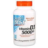 Витамин D3 (холекальциферол), Doctors Best, 5000 ME,720 капсул