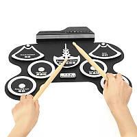 7 Pad Портативный электронный рулонный барабан Silicon Набор с барабаном Палка Foot Pedal Special Pad Shape