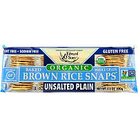Edward Sons, Organic, Baked Whole Grain Brown Rice Snaps, Unsalted Plain, 3.5 oz (100 g)