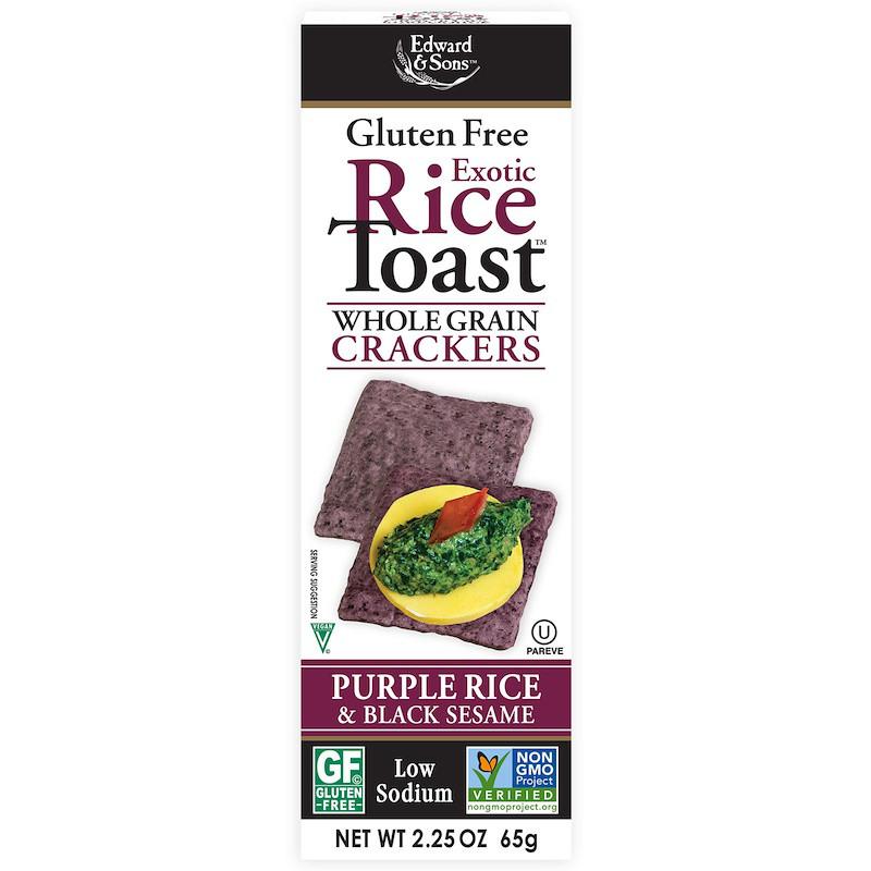 Edward Sons, Тост с экзотическим рисом, Крекеры из цельного зерна, Фиолетовый рис и черный кунжут, 2,25 унц. (65 г)