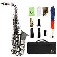 LADE Черный никель Eb Alto Saxphone Серебро E Плоский саксофон Sax с Сумка Чистый Набор