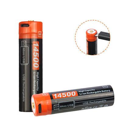 NicronNRB-L750750mAh/3.7VUSB Аккумуляторный 14500 Защищенный литий-ионный Батарея с индикатором LED 1TopShop, фото 2