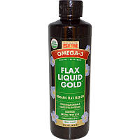 "Health From The Sun, Омега-3, масло льна, Liquid Gold (""жидкое золото""), 16 жидких унций (473 мл)"