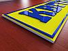 Вывеска из пластика 3мм с акриловыми буквами (Покрытие : Аппликация пленками ORACAL, фон+ 1 слой;  Объемные