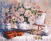Картина по номерам Розы и скрипка, 40x50 см