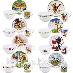 Набор детской посуды Зверята  (6 видов)