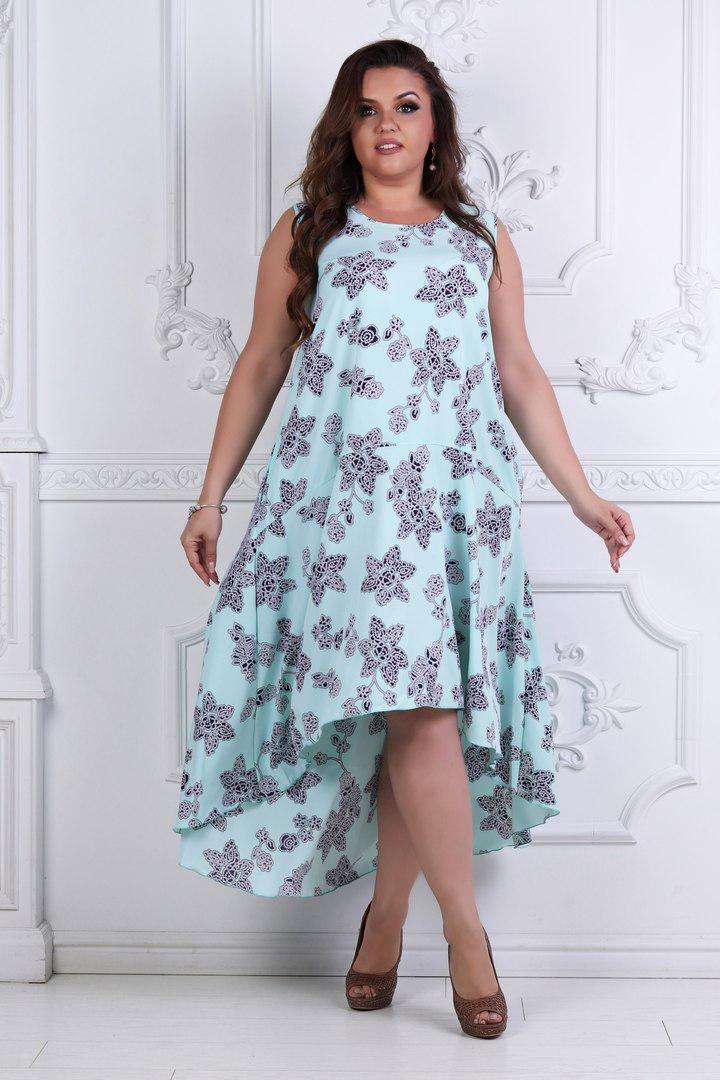 012b9a173bf Летнее красивое платье - сарафан большого размера спереди короче сзади  длинее до 56-го -
