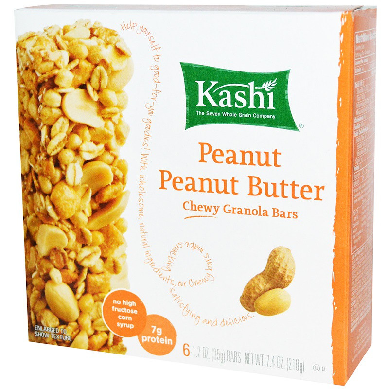 Батончики из мюслей с арахисом, (Chewy Granola Bars, Peanut Peanut Butter), Kashi, 6-2 шт.