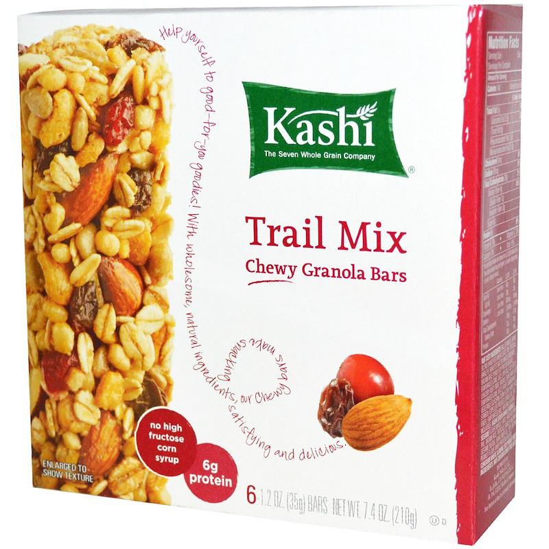 Батончики из мюслей с сухофруктами и орехами (Chewy Granola Bars, Trail Mix), Kashi, 6-2 шт.