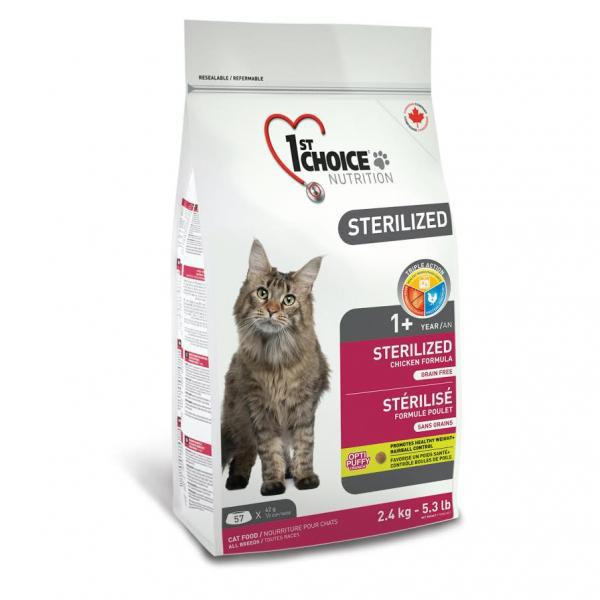 Сухий корм для кастрованих котів і стерилізованих кішок 1st Choice Sterilized з куркою 2,4 кг