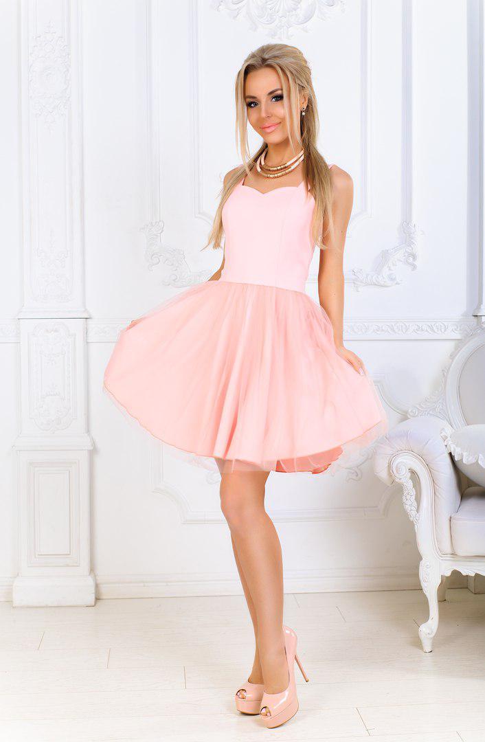 dc6a28122c8 Изумительное коктейльное платье женское с пышной юбкой пудра ...