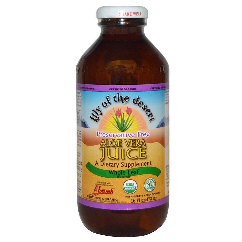 Lily of the Desert, Organic, Aloe Vera Juice, Whole Leaf, 16 fl oz