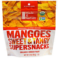 Манго сушеный, Mangos Sweet & Tangy Supersnacks, Made in Nature, 85 г