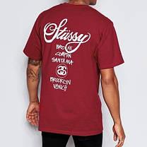 Футболка Stussy бордовая | Бирки | Реальные фотки качественная реплика, фото 2