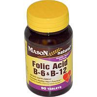 Mason Naturals, Фолиевая кислота В-6 и В-12, 90 таблеток