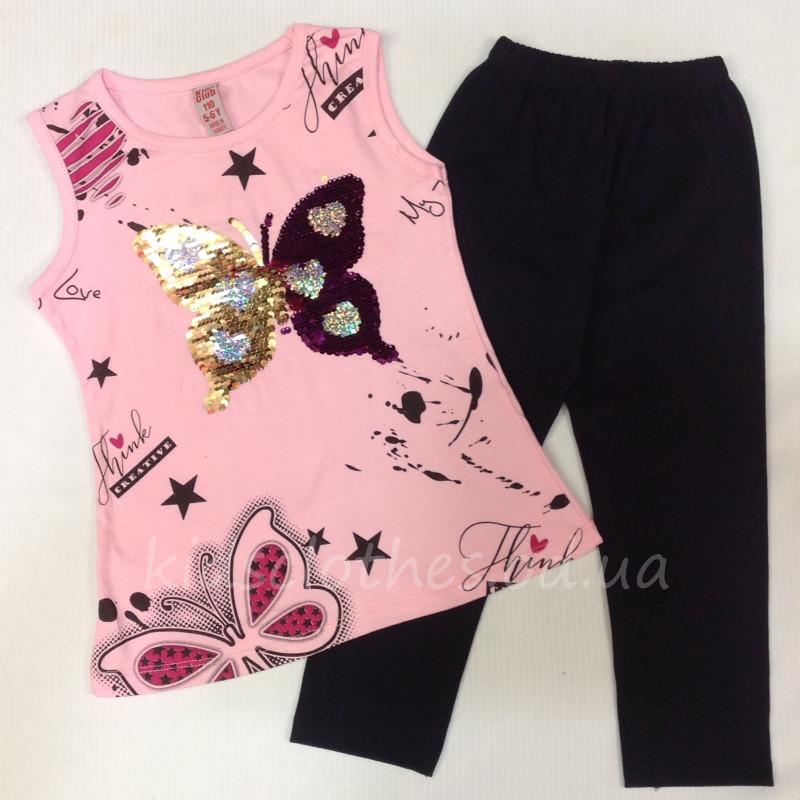 Костюм-двойка летний для девочек   Butterfly    светло-розовый с пайетками  5-8 лет 122 143bf34e988a3