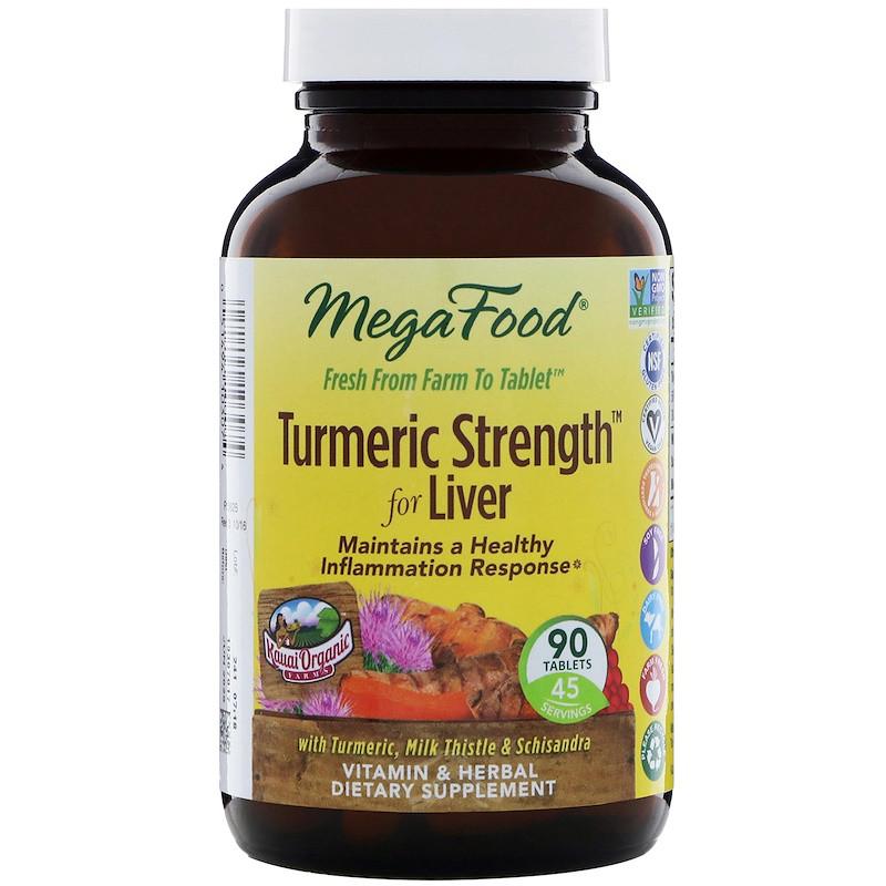 Куркумин, Turmeric Strength, MegaFood, 90 таблеток