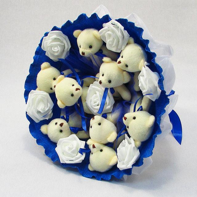 Букет из игрушек Мишки 9 Синий