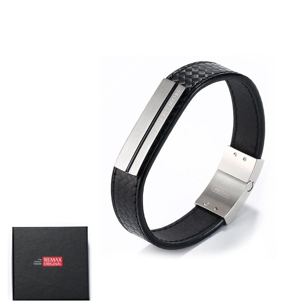 Мужской кожаный браслет Remax Wristband SH-01 Black