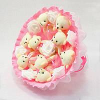 Букет из игрушек Мишки 9 Розовый, фото 1